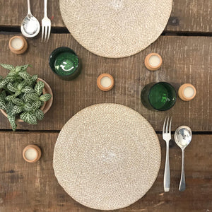 Hand Woven Circular Placemat - Pearl White