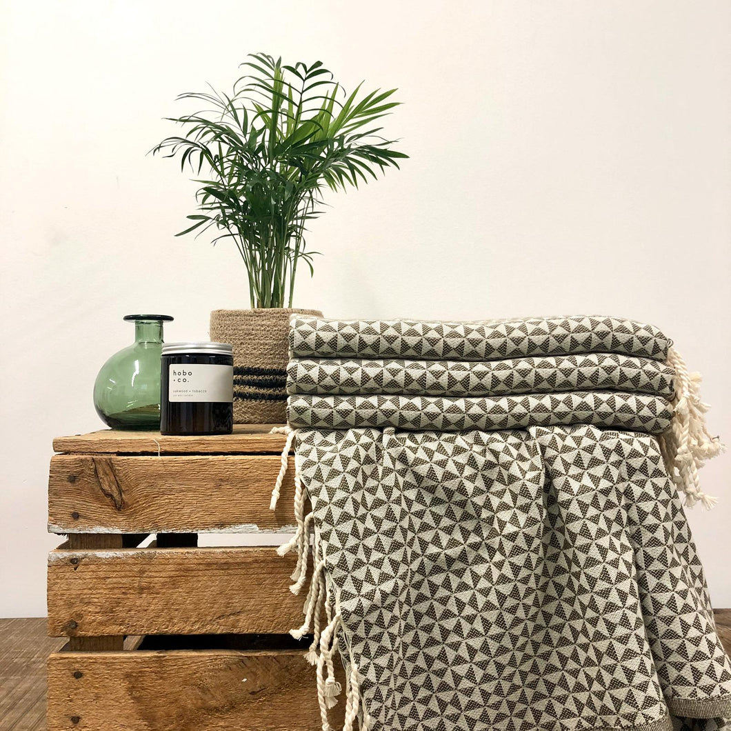 Fouta Towel, Wrap or Small Throw - Grey Geometric