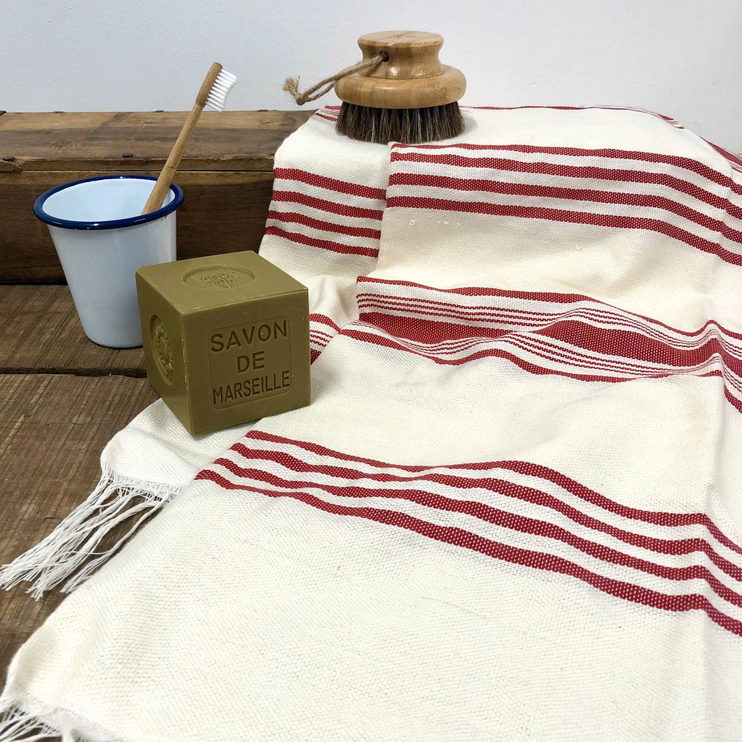 Handwoven Towel, Wrap or Small Throw - Wide Red Stripes