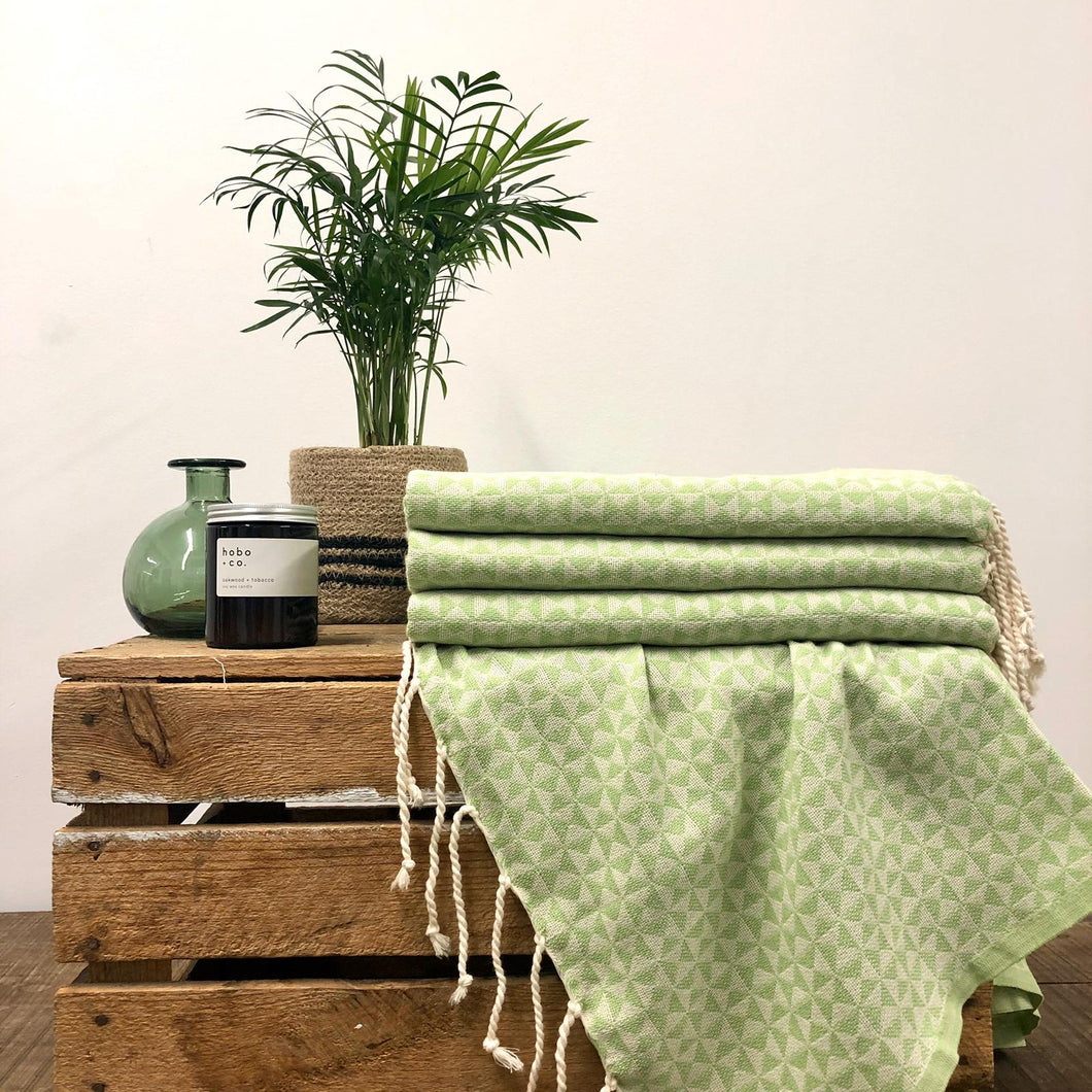 Fouta Towel, Wrap or Small Throw - Light Green Geometric
