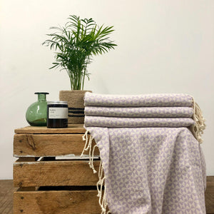 Fouta Towel, Wrap or Small Throw - Lilac Geometric