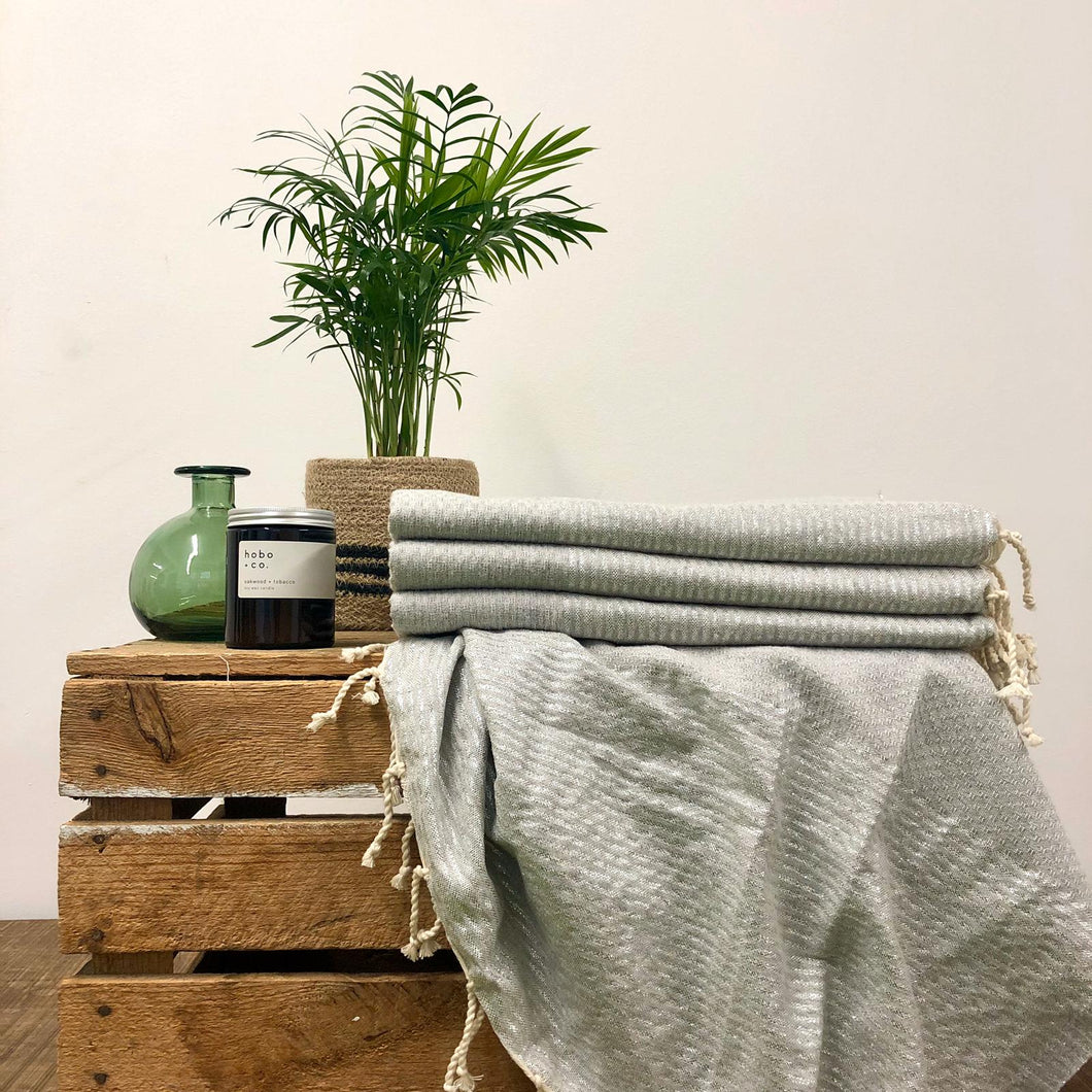 Fouta Towel, Wrap or Small Throw - Soft Grey