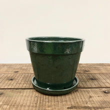 Load image into Gallery viewer, Leaf Green Glazed Pot With Saucer
