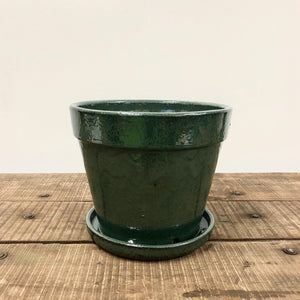 Leaf Green Sienna Pot - With Saucer