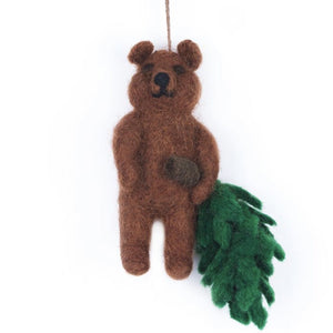 Bear With Tree - Felt Christmas Decorations