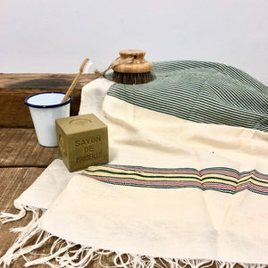 Handwoven Towel, Wrap or Small Throw - Narrow Dark Green Stripes + yellow