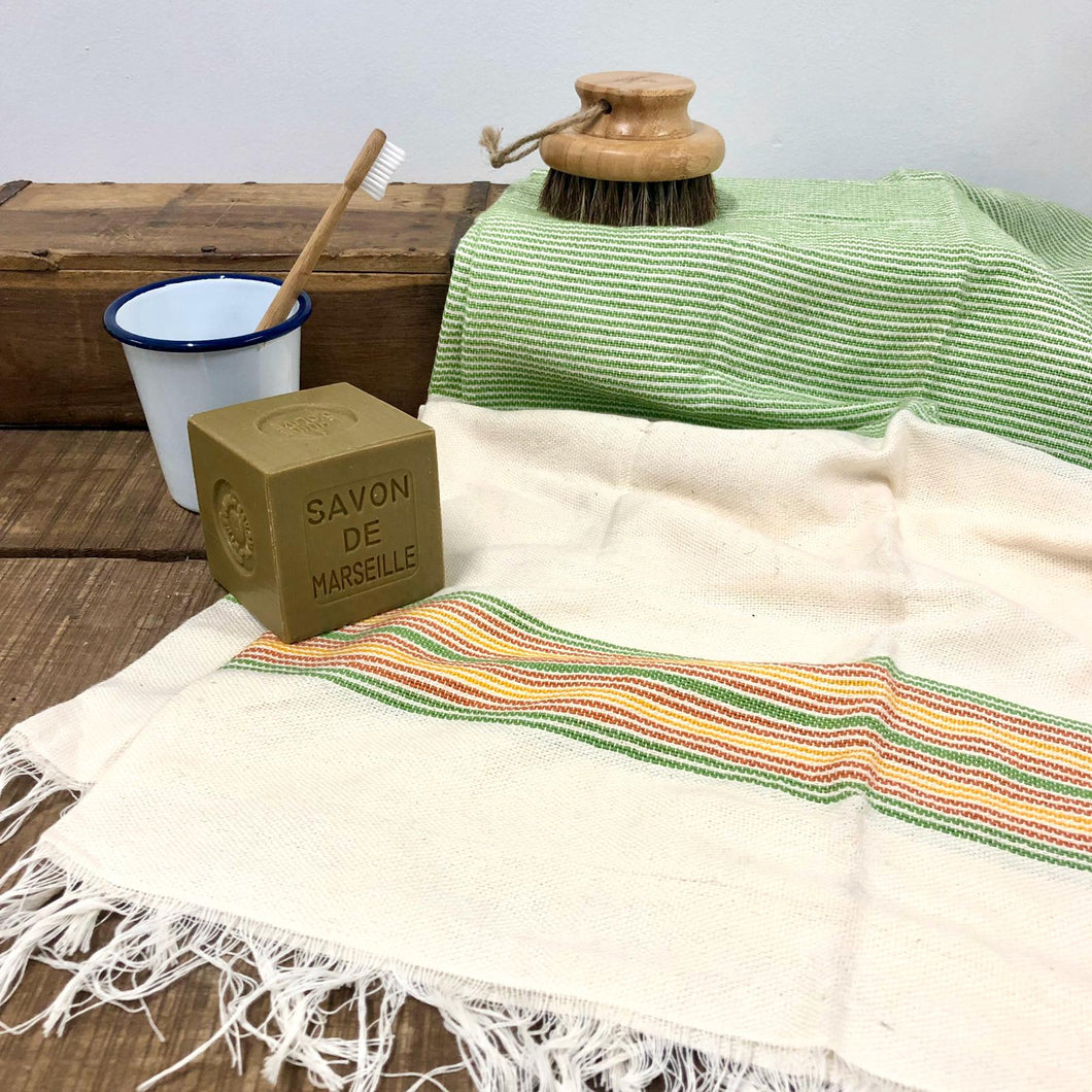Handwoven Towel, Wrap or Small Throw - Narrow Lime Green Stripes