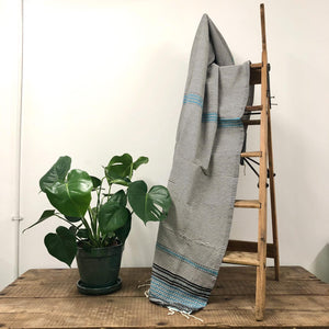 Fouta Towel, Wrap or Small Throw - Light Grey Berber