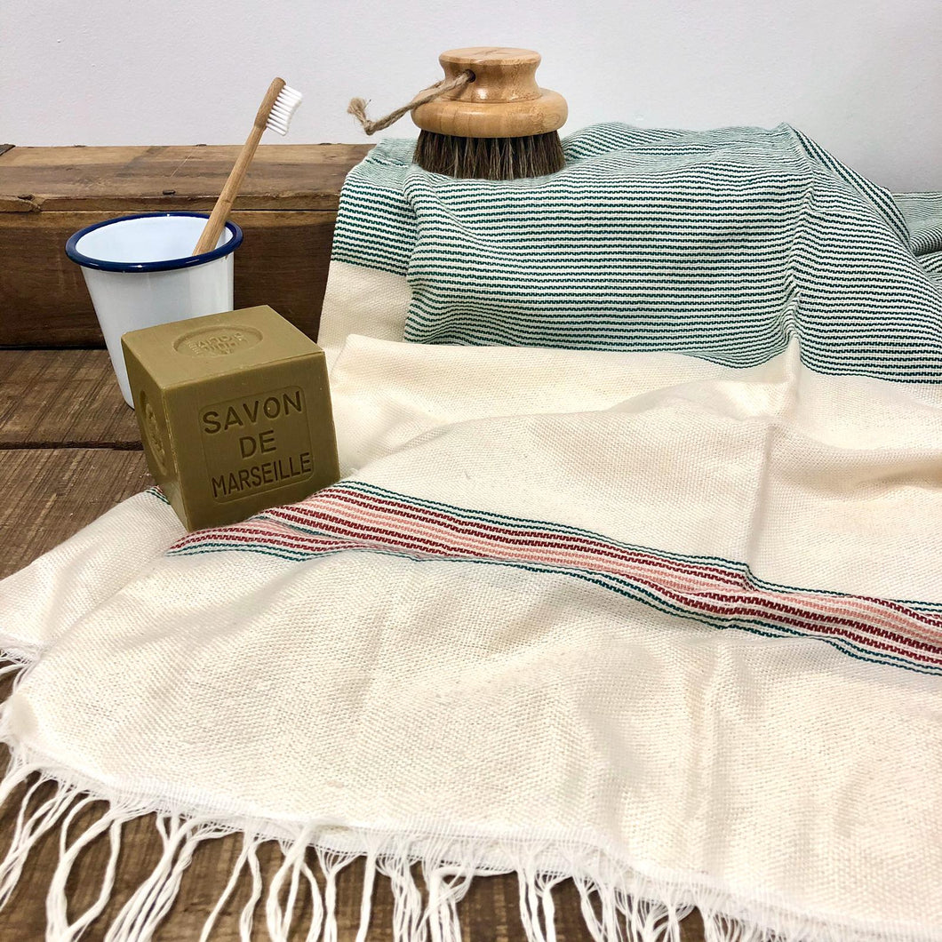 Handwoven Towel, Wrap or Small Throw - Narrow Green Stripes