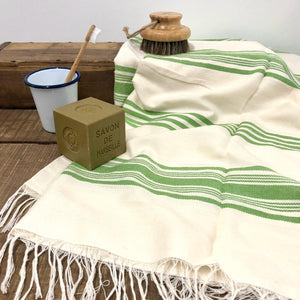 Handwoven Towel, Wrap or Small Throw - Wide Lime Green Stripes