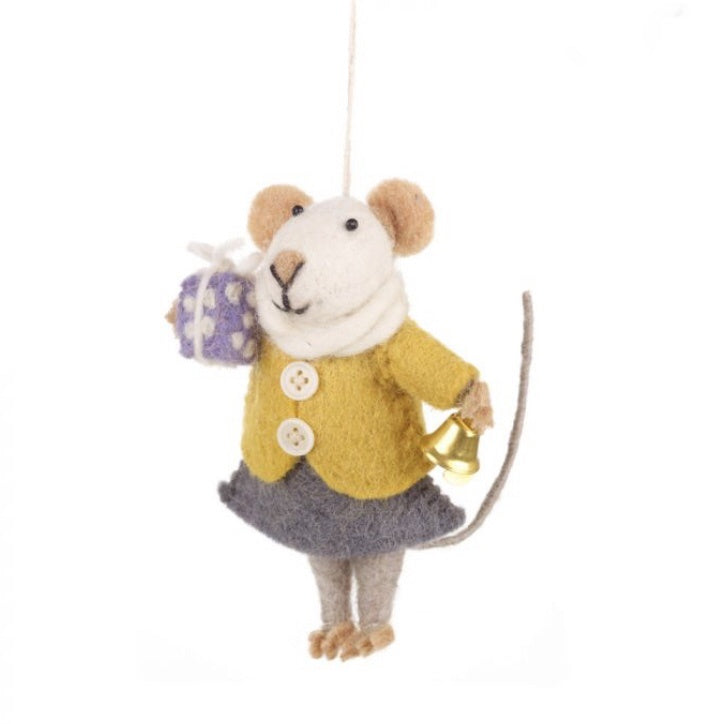 Ms Agnes Mouse - Felt Christmas decorations