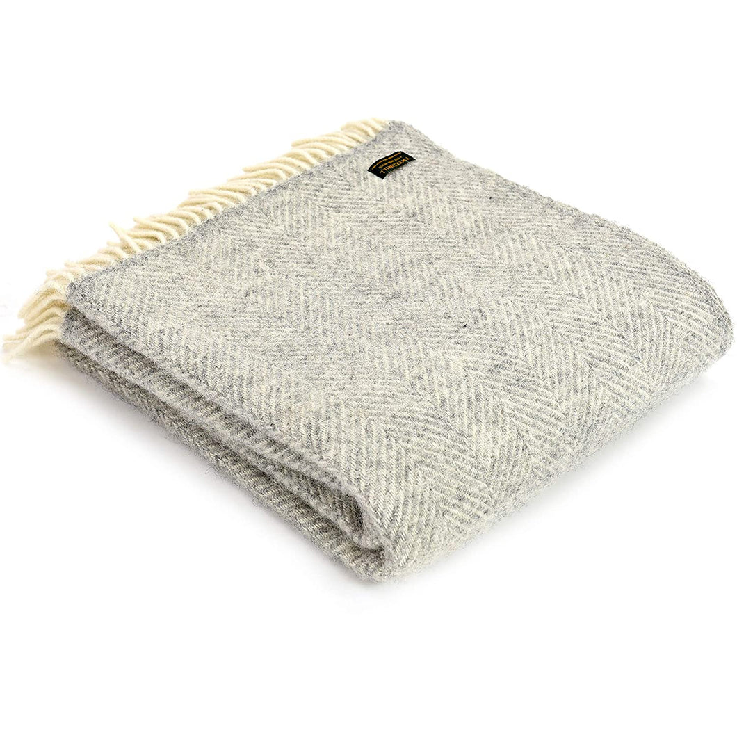 Wool Throw - Soft Grey
