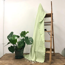 Load image into Gallery viewer, Fouta Towel, Wrap or Small Throw - Light Green Geometric