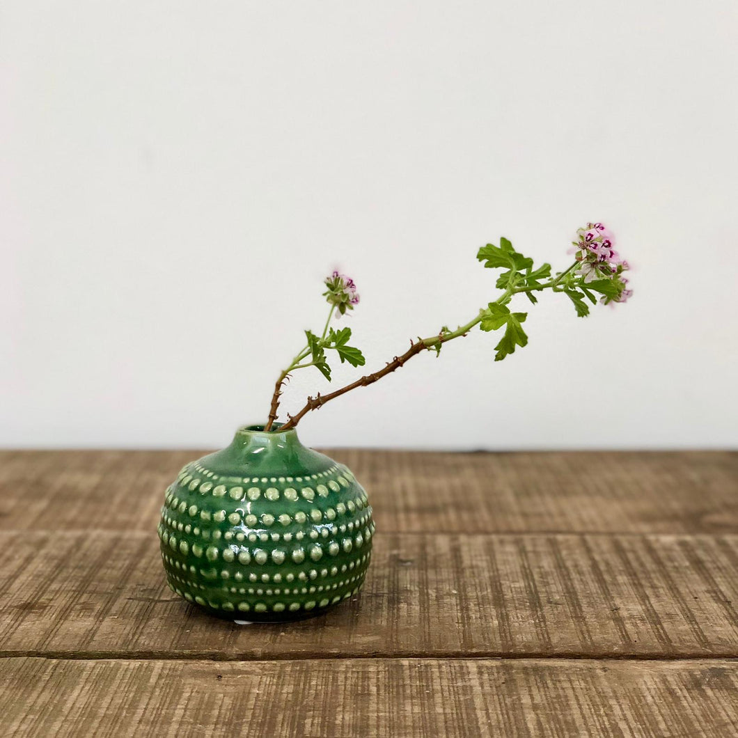 Round Ceramic Vase - emerald green
