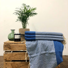Load image into Gallery viewer, Fouta Towel, Wrap or Small Throw - Blue Stripe