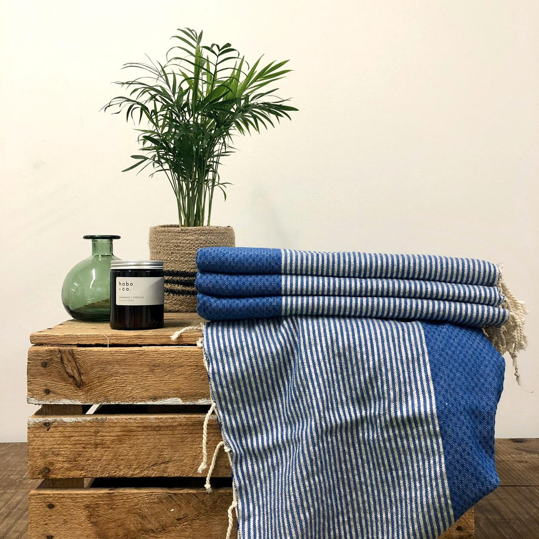 Fouta Towel, Wrap or Small Throw - Blue Stripe