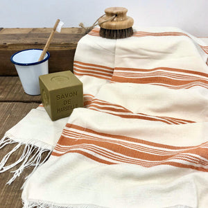 Handwoven Towel, Wrap or Small Throw - Wide Amber Stripes