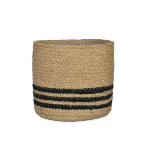 Small Basket With Black Stripes