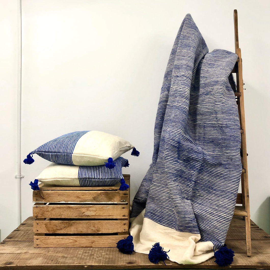 Moroccan Blanket - Blue and Cream Stripes