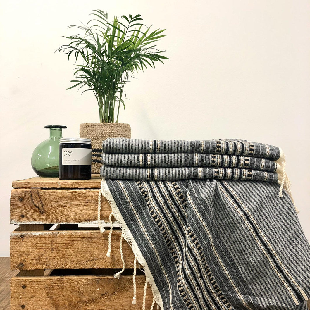 Fouta Towel, Wrap or Small Throw - Mid Grey Berber