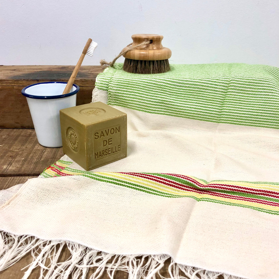 Handwoven Towel, Wrap or Small Throw - Narrow Lime Green Stripes + burgundy
