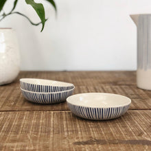 Load image into Gallery viewer, Etched Nibble Bowl - Indigo & White Stripes