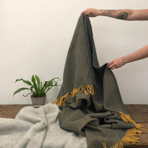 Pure New Wool Throw -  Navy & Mustard