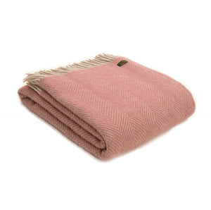 Pure New Wool Throw -  Dusty Pink