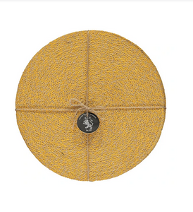 Hand Woven Circular  Placemat - Indian Yellow