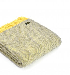 Pure New Wool Throw -  Soft Grey & Yellow