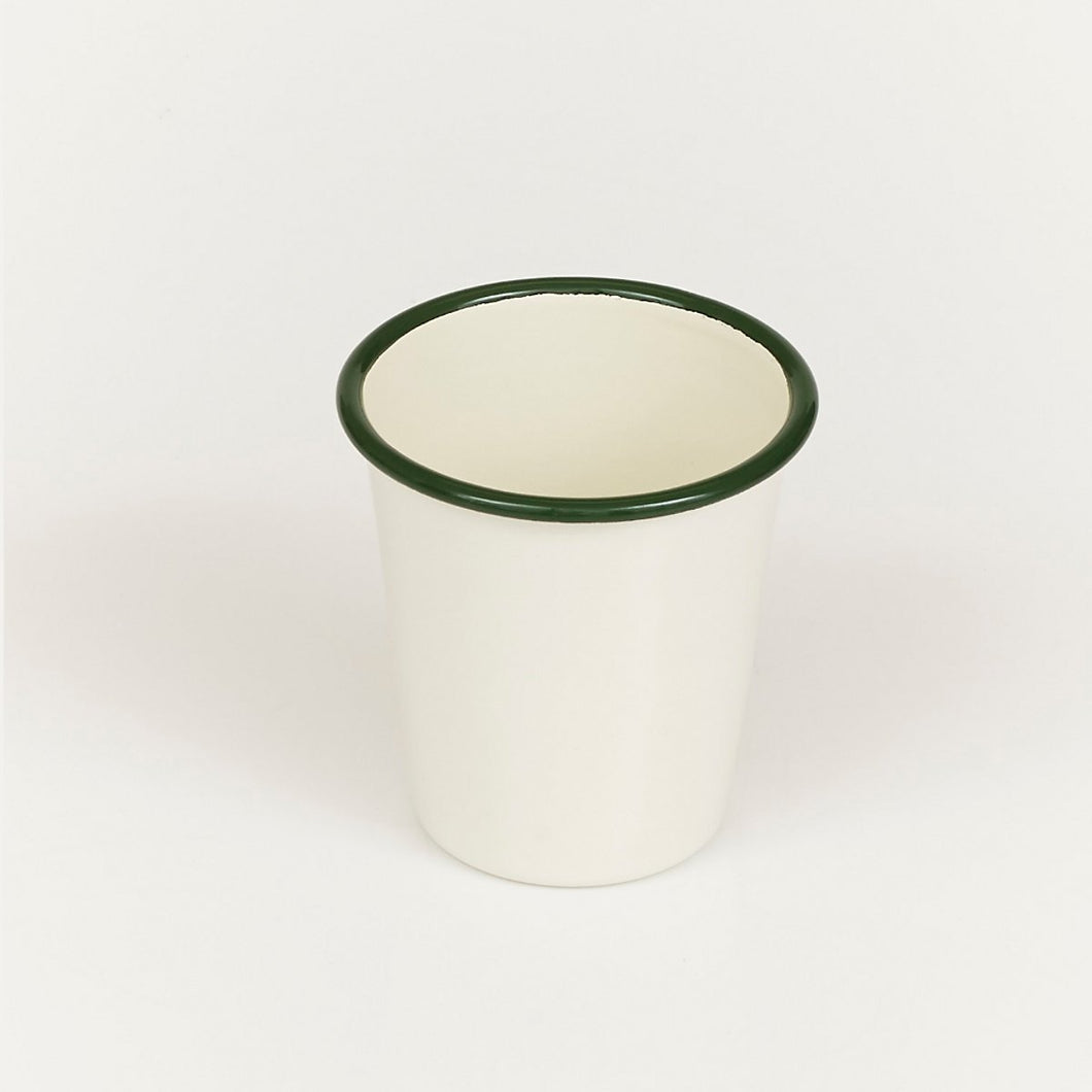 Enamel Cup - Cream with Green Rim