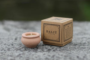 Boxed Dalit Beeswax Candles In Clay Pot