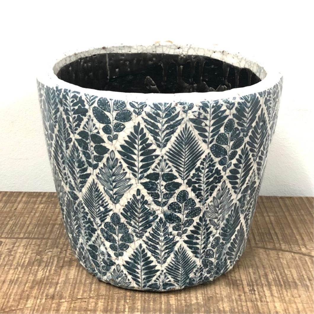 Old Style Dutch Pots - Large - Teal pattern