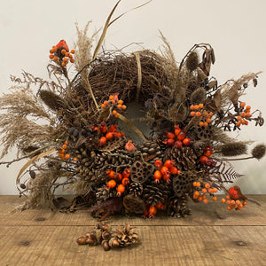 Huge Everlasting Wreath with Robins