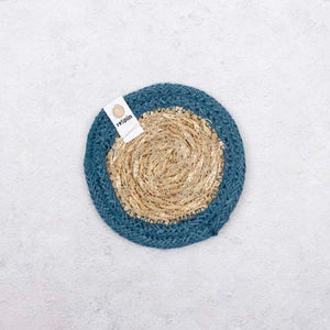 reSpinn Seagrass and Jute Coaster - Blue
