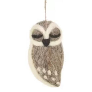Grey Owl - Felt Christmas Decorations