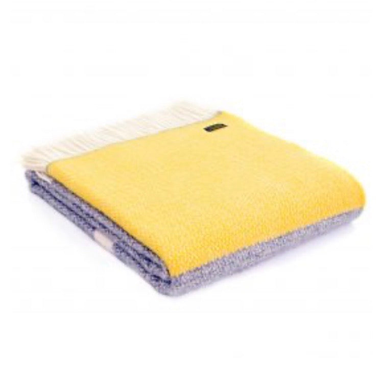 Wool Throw - Grey with yellow panel