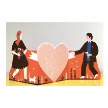 Load image into Gallery viewer, Man and Woman Concertina Heart Card - Printed Peanut