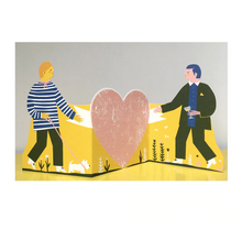 Load image into Gallery viewer, Two Men Concertina Heart Card  - Printed Peanut