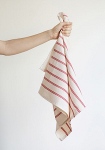 Cotton Waffle Teatowel  - Cream & Red