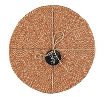 Load image into Gallery viewer, Hand Woven Circular Placemat - Tangerine