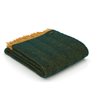 Pure New Wool Throw -  Emerald & Mustard