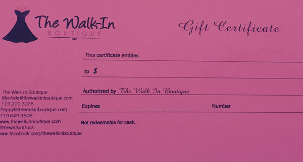 $25 Gift Certificate - The Walk-in Boutique