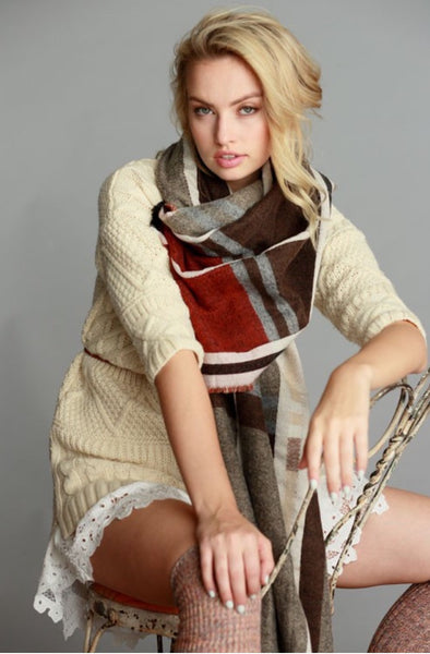 Oversized Frayed Plaid Scarf - The Walk-in Boutique
