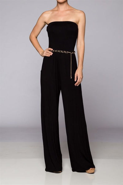 Jumpsuit with Gold Belt - The Walk-in Boutique