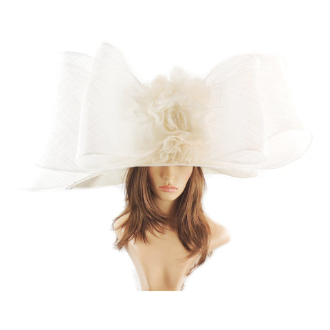 White Selaphiel Large Kentucky Derby Ascot Hat