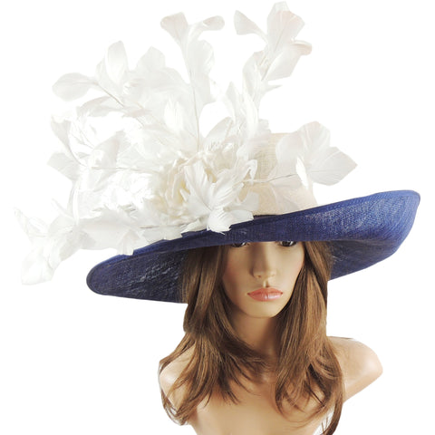 Navy & Ivory Silk Flower & Feather Ascot Hat