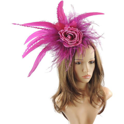 Carrie Silk Rose Feather Fascinator