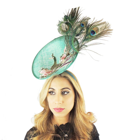 Olivia Peacock Ascot Fascinator Hat - Hats By Cressida
