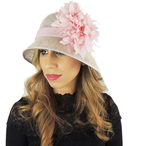 2019 Grey & Pink Ascot Hat 108 - Hats By Cressida